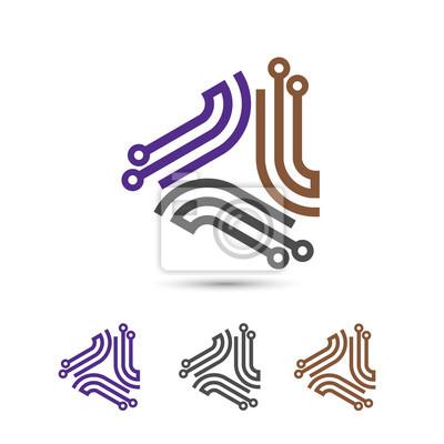 Digital-elektronik-logo-design, kreative elektronische schaltungen ...