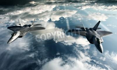 Fototapete Digital imaging of Military plane doing a flight in high attitude