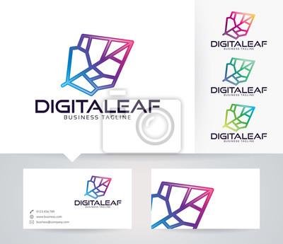 Digital Leaf Vektor Logo Mit Alternativen Farben Und