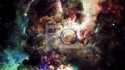 Fototapete Digital Zusammenfassung einer hellen und bunten Nebel Galaxie und Sternen