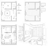 Digitale Abbildung Satz Von Schwarz Weiss Zeichnungen Der Innenarchitektur Grundriss Mit Mobeln Skizze