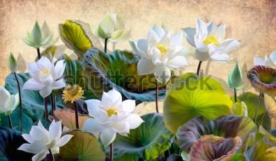 Fototapete Digitale Illustration einer blühenden weißen Lotusblume mit grünen Blättern auf einem Hintergrund von beigen Wänden im Dachboden. Tapeten und Wandbilder für den Innendruck.