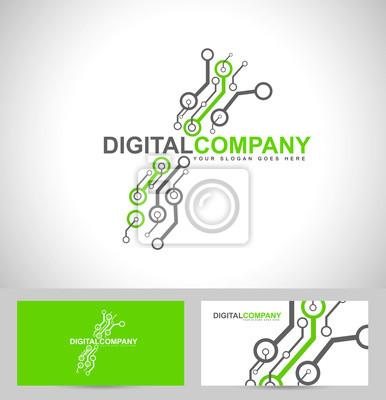 Digitalelektronik-logo-design. kreative elektronischen schaltungen ...