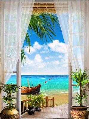 Fototapete Digitales Fresko. Tropische Ansicht