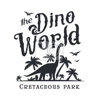 Dino weltlogo-schablone. dinosaurierparkzeichen. diplodoc t-shirt ...