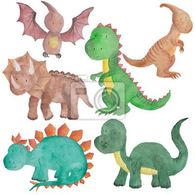 Dinosaurier Aquarell Hand Gemalt Abbildung Isoliert Kinder Baby