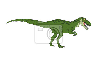 Fototapete Dinosaurier Cartoon Comic Tiranosaur Rex Isoliert Vektor Illustration