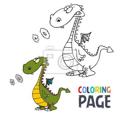 Dinosaurier Cartoon Malvorlage Fototapete Fototapeten