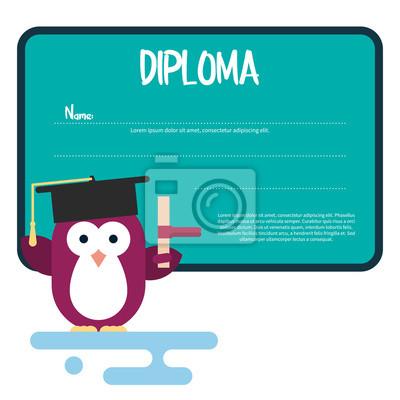 Diplom Vorlage Mit Flachem Pinguin Charakter Stilisiert Als