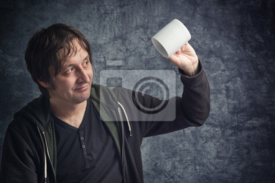 Fototapete Disappointed Man Looking at Empty Cup