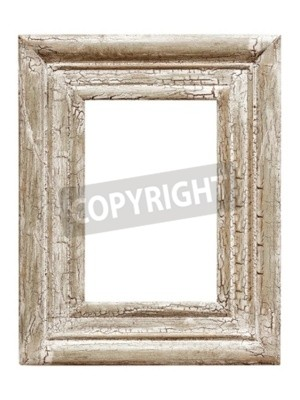 Distressed painted picture frame, isolated on white background. Craquelure effect.