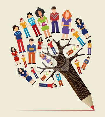 Diversity Menschen Konzept Bleistift Baum Fototapete Fototapeten