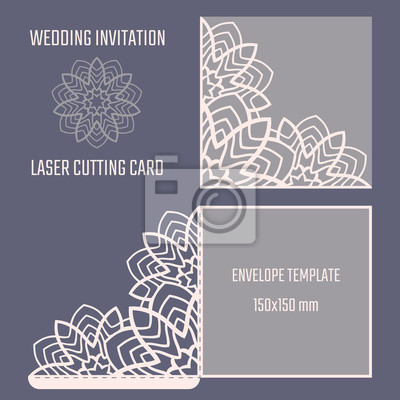 Fototapete DIY Laser Schneiden Vektor Umschlag. Hochzeit Gestempelschnitten  Einladung Vorlage. Ausschnitt Silhouette