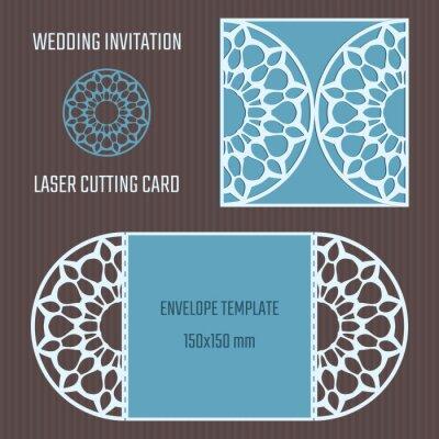 Fototapete DIY Laserschneiden Vektor Umschlag. Hochzeit Sterben Schneiden  Einladung Vorlage. Ausschnitt Schattenbildkarte.