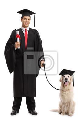 Doktorand Mit Einem Diplom Und Einem Hund Der Einen Abschlusshut
