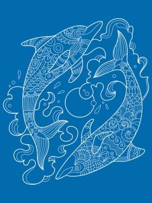 Dolphin Malbuch für Erwachsene Vektor