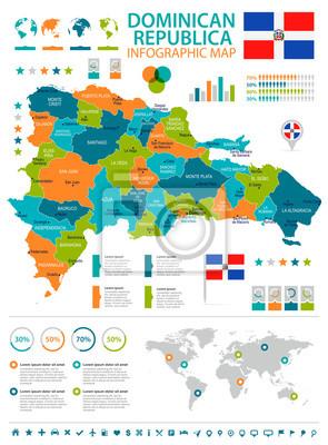 Dominikanische Republik Infographic Karte Und Markierungsfahne