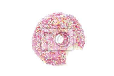 Donut mit rosa Glasur und beißen isoliert