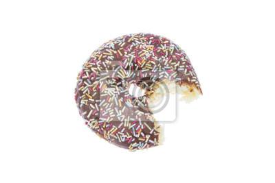 Donut mit Schokolade Glasur und beißen isoliert
