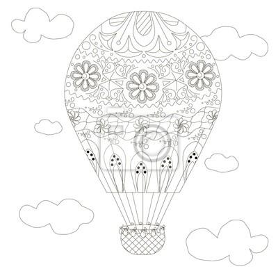 Doodle ballon, malvorlage anti-stress vektor-illustration fototapete ...