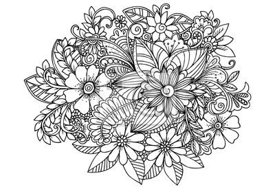 Fototapete Doodle Blumen Erwachsenen Malvorlage Seite