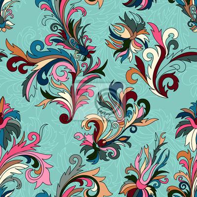 Doodle Bunte Pastell Floral Hand Zeichnen Nahtlose Muster Fototapete