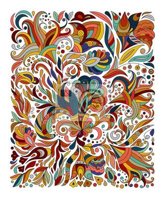 Doodle Bunte Regenbogen Floral Hand Zeichnen Muster Abbildung