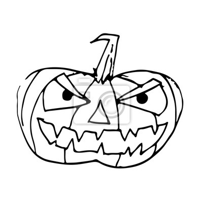 Fototapete Doodle Halloween Kürbis Ikone Hand Zeichnen Illustration Design