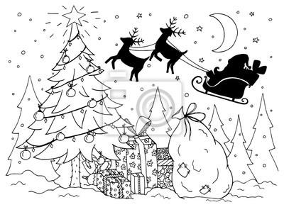 Doodle Illustration Von Santa In Einem Schlitten Mit Rentier