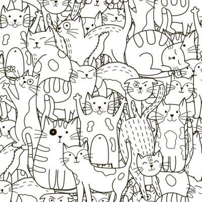 Fototapete Doodle Katzen nahtlose Muster. Schwarz und weiß niedlichen Katzen Hintergrund