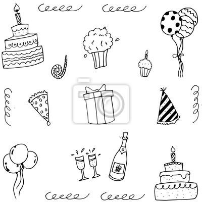 Doodle Vektor Kunst Geburtstag Mit Hand Zeichnen Fototapete