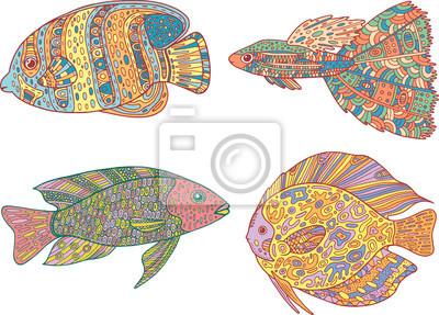 Doodle Zentangle Fische Set Zen Kunst Malvorlagen Für Erwachsene
