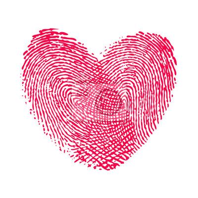 Doppel Fingerabdruck Herz Liebe Symbol Fototapete Fototapeten