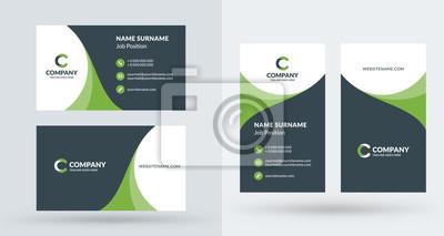 Fototapete Doppelseitige kreative Visitenkarte Vorlage. Portrait- und Landschaftsausrichtung. Horizontales und vertikales Layout. Vektor-Illustration