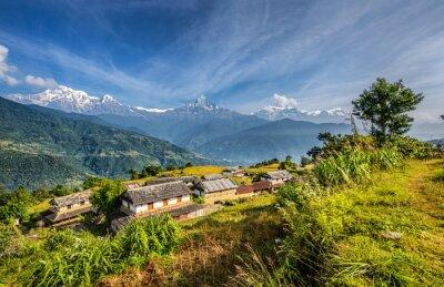 Fototapete Dorf in den Himalaya-Bergen in Nepal