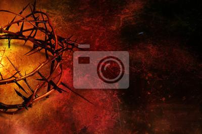 Dornenkrone auf dunkelrotem Hintergrund grunge
