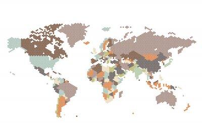 Fototapete Dotted Weltkarte der sechseckigen Punkte