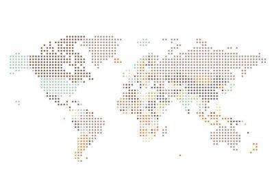 Fototapete Dotted World Karte von quadratischen Punkten