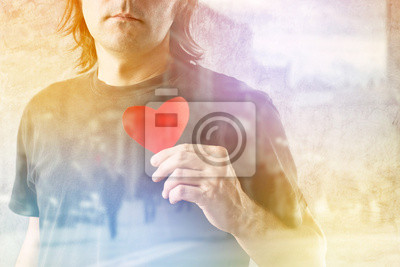 Fototapete Double Exposure Be my Valentine, Valentines day concept.