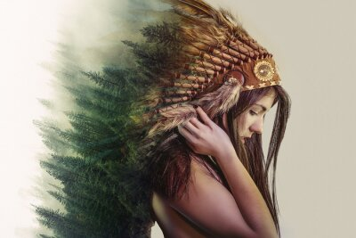 Fototapete double exposure, beautiful woman with indian plume of plume and a forest on the head concept nature