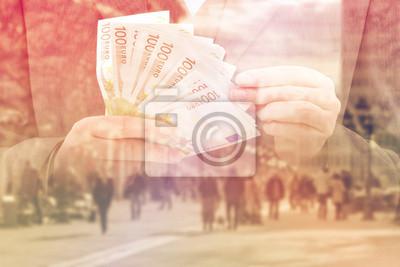 Fototapete Double Exposure Installment Loans in Cash