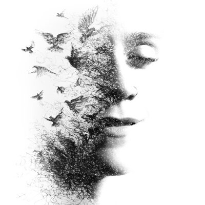 Fototapete Double Exposure portrait of an elegant woman with closed eyes combined with hand made pencil drawing of a flock of birds flying freely resembling disintegrating particles of her being, black