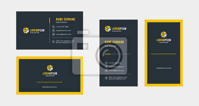 Fototapete Double-sided creative business card template. Portrait and landscape orientation. Horizontal and vertical layout. Vector illustration
