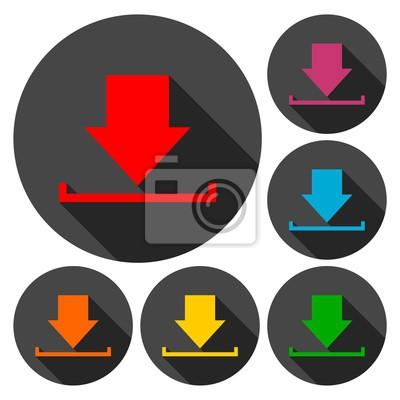 Download-symbol, upload-schaltfläche, ladesymbol-set mit langem ...