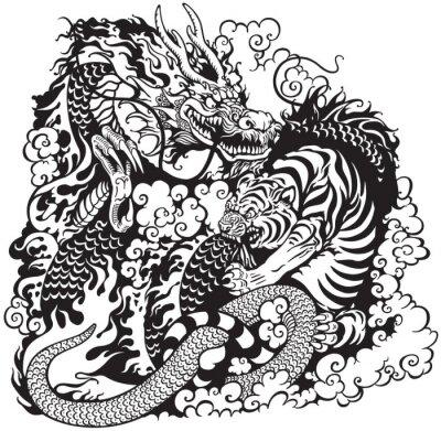 Drachen und tiger kämpfen schwarz weiß fototapete • fototapeten Yin ...