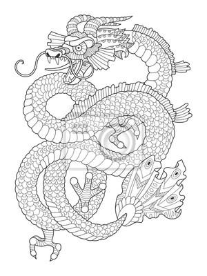 Dragon Malbuch für Erwachsene Vektor