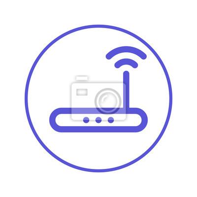 Drahtlose wi-fi-router kreislinie symbol. rundschild high-speed ...