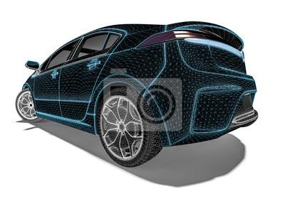 Drahtrahmen-auto / 3d übertragen das bild, das ein luxusauto ...