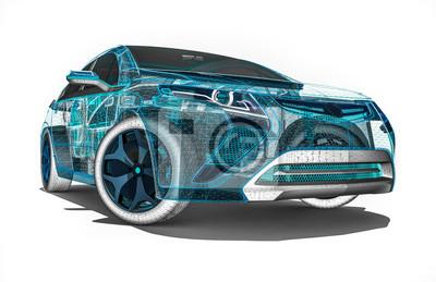 Drahtrahmenauto / 3d übertragen bild eines autos im drahtrahmen ...