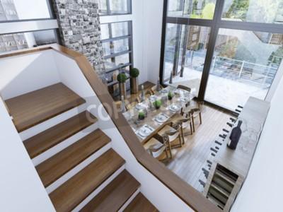 Fototapete: Draufsicht auf ein modernes esszimmer design. geräumiges zimmer